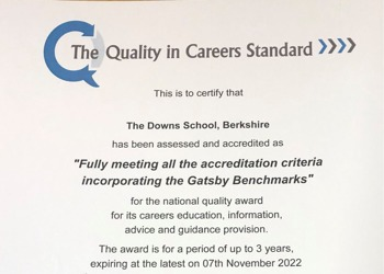 The Downs School  is re-accredited with Careers Quality mark through Investors in Careers