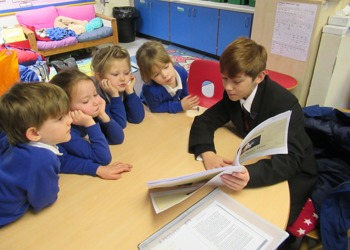 Downs School students write and perform Christmas stories to Compton Primary pupils